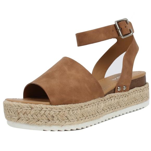 d98a6437f25 Tan Open Toe Halter Ankle Strap Espadrille Sandal. Boutique